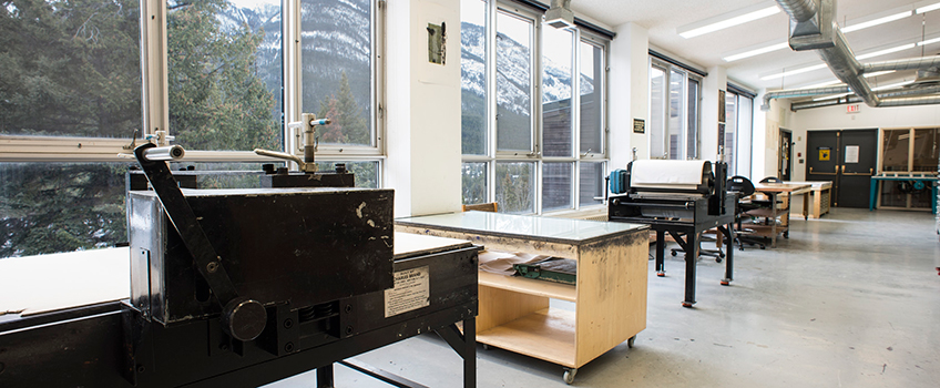 The printmaking studio at The Banff Centre